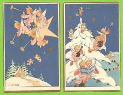 Illustrateur J GOUPPY - 2 Cartes - Anges, Angelots Dans Nuit étoilée (musique) - GBB - Altre Illustrazioni