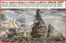 CPSM Saint Malo En L'isle (35) Peinture De La Brasserie Des Voyageurs / Bateaux, Galion, Frégate, Marin / Voyagé 1969 - Saint Malo