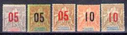 Série De 5 Valeurs, Timbres De 1892-1900 Surchargés - Non Classés