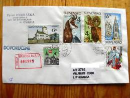 REGISTERED Cover Sent From Slovakia To Lithuania On 1999, Animals Goat, Church, Budatin, Religious Jesus Christ, - Slovaquie