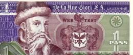 SWIZERLAND - Gutenberg - 1 Pass DE LA RUE GIORI - UNC TEST NOTE ECHANTILLON DE LA RUE GIORI LAUSANNE - Schweiz
