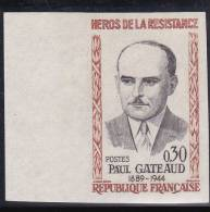 1961 - YVERT N° 1290 NON DENTELE  ** - COTE = 19 EUROS - HEROS DE LA RESISTANCE - Imperforates