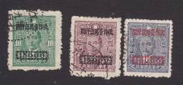 China, Scott #814-816, Used, Dr. Sun Yat-sen Surcharged, Issued 1948 - China