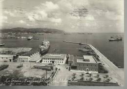 Vecchia Cartolina Di  La Spezia Panorama Del Golfo E Molo Italia Con Nave - La Spezia