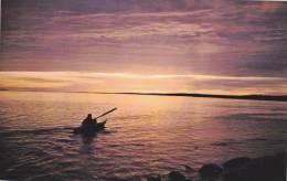 Eskimo Paddling Into The Artic Sunset , Canada , 40-60s - Nunavut