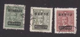 China, Scott #817-819, Used, Dr. Sun Yat-sen Surcharged, Issued 1948 - China