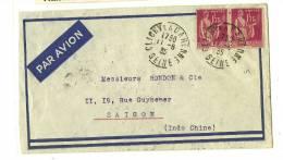 92 – Ht. De Seine « CLICHY » LSI - Tarif P.A.   Col. Fses - INDOCHINE   à 3F.50 - Poste Aérienne