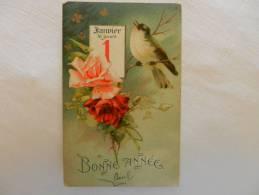 Jolie CPA   1er Janvier, Oiseau Sur Une Branche De Roses - New Year