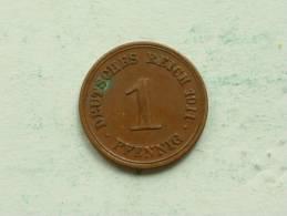 1911 E - 1 Pfennig / KM 10 ( Uncleaned - For Grade, Please See Photo ) ! - [ 2] 1871-1918: Deutsches Kaiserreich