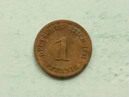 1911 D - 1 Pfennig / KM 10 ( Uncleaned - For Grade, Please See Photo ) ! - [ 2] 1871-1918: Deutsches Kaiserreich