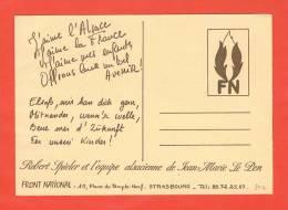 F.N. Robert Spieler Et L'équipe Alsacienne De Jean M. Le Pen Carte De Voeux - Strasbourg