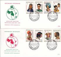 [W] 2 FDC Enveloppes Permier Jour Rwanda Timbres Surchargés Overprint Stamps - Rwanda