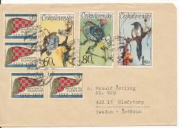 Czechoslovakia Cover Sent To Sweden 11-9-1973 With BIRD Stamps - Czechoslovakia