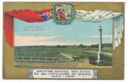Monument  Wolfe Plaines D´Abraham, Souvenir Officiel Quebec 1608-1908 - Quebec