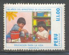 RN)1988,PERU, SCN 929,CHILDS, 1 I, MINISTRY OF EDUCATION,150TH. ANNIV.,MULTICOLOR,MNH, STAMP - Peru
