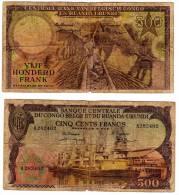 Rare Billet De 500 Francs BANQUE CENTRALE DU CONGO BELGE  ET RUANDA-URUNDI  De 1957 - [ 5] Congo Belge