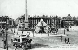 PARIS Fontaines Jaillissantes De La Place De La Concorde (animée-autobus) - Squares