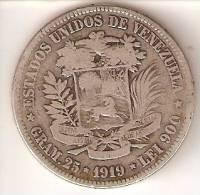 MONEDA DE PLATA DE VENEZUELA DEL AÑO 1919 DE BOLIVAR - 25 GRAMOS Y LE1 900  (COIN) SILVER,ARGENT. - Venezuela