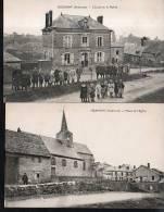 MESMONT LOT DE 2 CARTES Place De L'eglise , L'ecole Et La Mairie (ardennes 08 ) - Andere Gemeenten