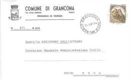 GRANCONA  36040  PROV. VICENZA  - ANNO 1981 - LS  - STORIA POSTALE DEI COMUNI D´ITALIA - POSTAL HISTORY - Affrancature Meccaniche Rosse (EMA)
