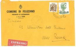 FELIZZANO  15023  PROV. ALESSANDRIA  - ANNO 1980 - EXP  - STORIA POSTALE DEI COMUNI D´ITALIA - POSTAL HISTORY - Affrancature Meccaniche Rosse (EMA)