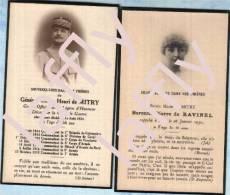 Général Comte De Mitry, Carte D´avis De Décès, Légion D´Honneur, Croix De Guerre + Carte De La Baronne Pierre De Ravinel - Documents