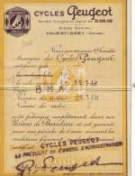 France - Cycles Peugeot - Certiticat D'origine + Cachet - Frankreich