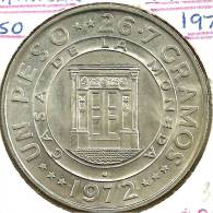 DOMINICAN REP 1 PESO 25 YEARS OF BANK BUILDING FRONT EMBLEM BACK 1972 AG SILVER KM34 UNC READ DESCRIPTION CAREFULLY !!! - Dominicana