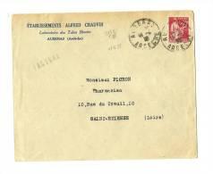 07   ARDECHE   AUBENAS  Facture Sous Enveloppe Ouverte - Tarif à 30c. 12.7.1937/16.11.1938)N°2 83c T.III  -  50c. Paix - 1932-39 Paix