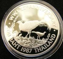 Thailand 200 B 1987 Bird Silver Proof - Thaïlande