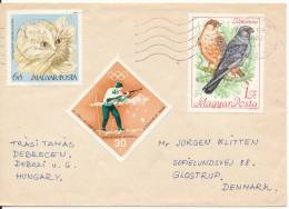 Hungary Cover Sent To Denmark 27-5-1968 With Topic Stamps BIRDS - CAT - Hongrie