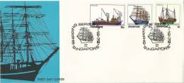 1972  FDC Shipping Series Set Of 3 Special Postmark Shipping Series 2 Singapore 17 -12- 72 - Singapour (1959-...)
