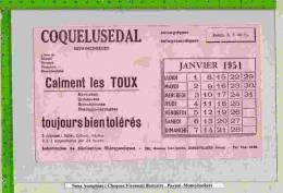 BUVARD :Pharmacie :COQUELUSEDAL Calment La Toux 1951 Calendrier - Chemist's