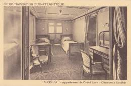 MASSILIA APPARTEMENT DE GRAND LUXE CHAMBRE A COUCHER CIE DE NAVIGATION SUD ATLANTIQUE - Dampfer
