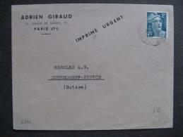 G 111 -TB Enveloppe Affranchie Avec N° 713 .De Paris Pour La Suisse: ( ../../19.. ). - Postmark Collection (Covers)
