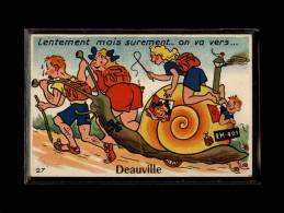 14 - DEAUVILLE - Carte Système - Lentement Mais Surement... - Carte Dépliant - Escargot - 10 Petites Vues - Deauville