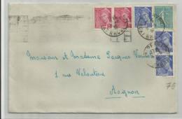 1939 - ENVELOPPE DE LYON PERRACHE - MERCURE - SEMEUSE - MECA AVIGNON AU DOS - France