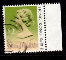 Hong Kong 1990 $2  Queen Elizabeth II Issue  #500a With Tab - Used Stamps
