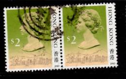Hong Kong 1990 $2  Queen Elizabeth II Issue  #500a Pair - Used Stamps
