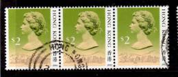 Hong Kong 1990 $2  Queen Elizabeth II Issue  #500a Triple - Used Stamps