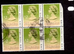 Hong Kong 1990 $2  Queen Elizabeth II Issue  #500a Block Of 6  Damaged - Used Stamps