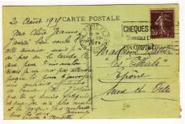 """FLIERS -  """" PARIS XV / PL. DE VAUGIRARD / 21-VIII-1925 """" + """" CHEQUES POSTAUX / ..... """" - Réf. A15107 - Marcofilie (Brieven)"""