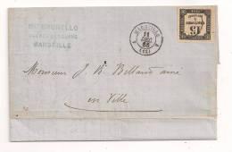 Lettre - BOUCHES Du RHONE - MARSEILLE - PORT LOCAL Taxée Avec Un N°3 Superbe - 1866 - Taxes