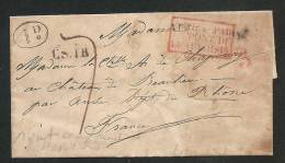 """BELLE LETTRE - """"ITALIE PAR PONT DE BEAUVOISIN"""" + 3 En Rouge - CS.IR - ID. Dans Un Cercle - Verso/  ANSE 30 JUILL. 1838 - Postmark Collection (Covers)"""