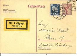 W-L029a  / Ganzsache Michel P169 Mit Zusaetzlicher Marke Per Luftpost Nach Paris 20.11.26 - Deutschland