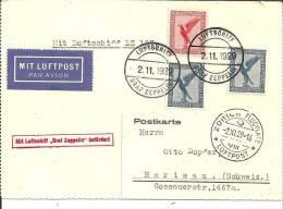 W-L035a  / Zeppelinfahrt Nach Zuerch 2. 11.. 29 Mit Bord- Und Bestaedigungstempel Mit Luftschiff Graf Zeppelin - Deutschland