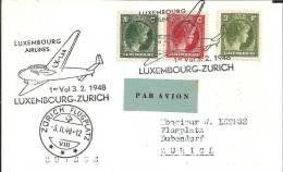 L073 /  LUXEMBURG -  Erstflug Nach Zürich 1948 Mit Flugzeug Im Sonderstempel - Briefe U. Dokumente