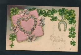 """FLEURS - Jolie Carte Fantaisie Gaufrée Coeur Avec Coussin En Tissu """"Doux Souvenir""""   (embossed Postcard) - Non Classés"""