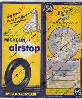 CARTE GEOGRAPHIQUE Michelin - N° 54 CHERBOURG -  ROUEN 1954 - Strassenkarten
