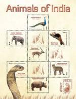 sav01103sh St. Vincent 2011 Animals of India s/s Peafowl Elephant Red Panda Snake Rhinoceros Leopard